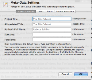 Meta Data Settings